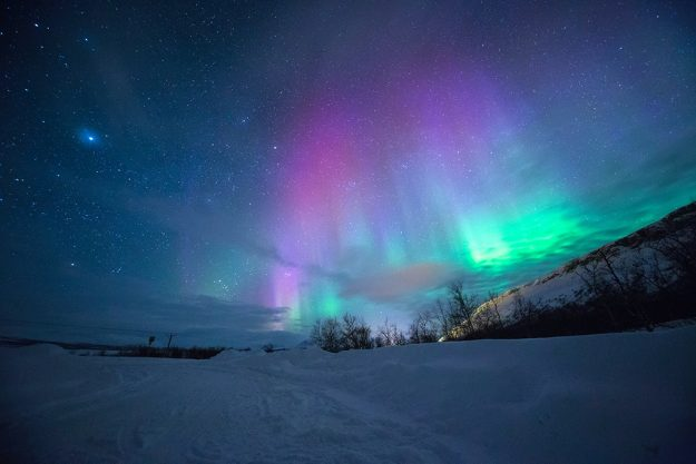 Purple, green Northern Lights with snow and stars