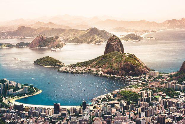 Birds eye view of city, coast and mountains in Rio de Janeiro